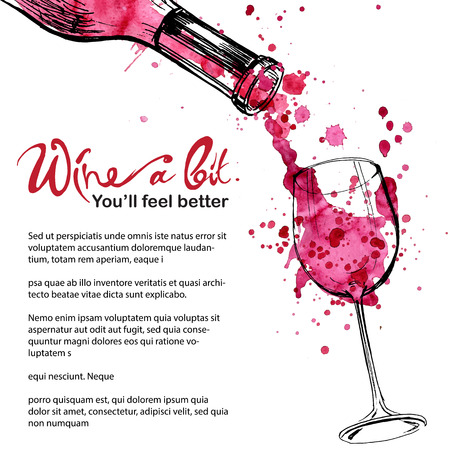 Wine illustration - sketch and art style Imagens - 39288464