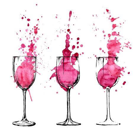 copa de vino: Ilustración Vino - boceto y estilo de arte Vectores