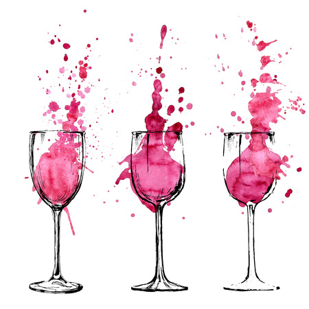 glass with red wine: Wine illustration - sketch and art style