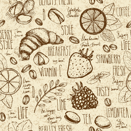 restaurant table: Breakfast sketched seamless pattern in retro colors