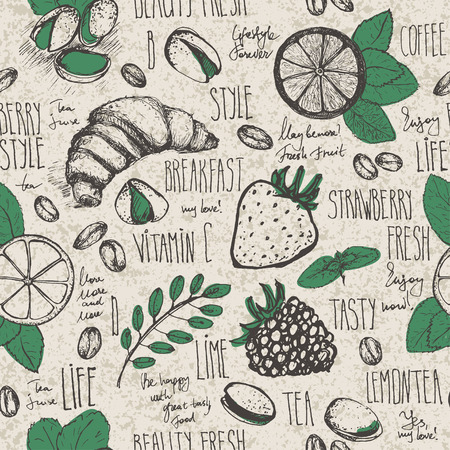 sketched: Breakfast sketched seamless pattern in retro colors