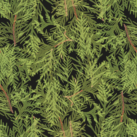 green leaves: Leaves seamless pattern with green and black colors Illustration