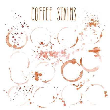 Set of coffee stains isolated on white background Vettoriali