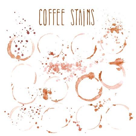 Set van koffie vlekken op een witte achtergrond
