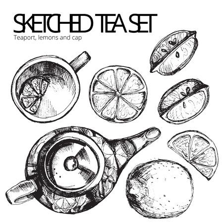 Hand getrokken schets vector thee set op een witte achtergrond Stock Illustratie