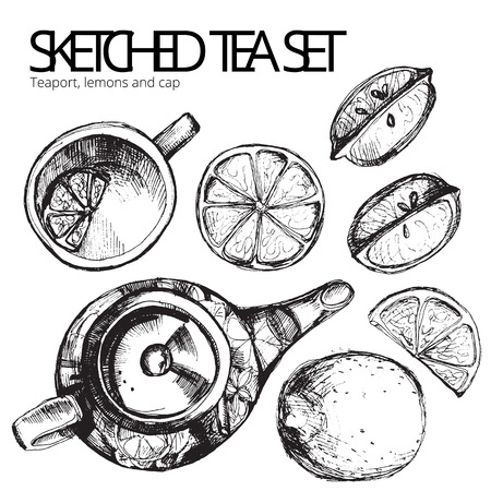 Hand drawn sketch vector tea set isolated on white background