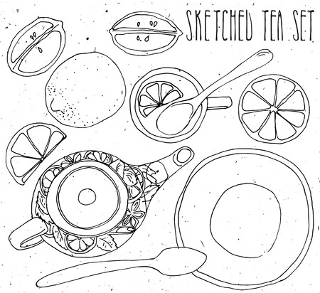 chamomile tea: Hand drawn sketch vector tea set isolated on white background