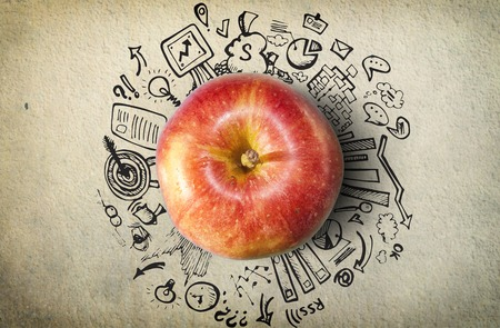 freehand: Concept with apple and business doodles on grunge background
