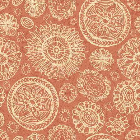 vintage colors: Doodles seamless backgound with flowers vintage colors Illustration