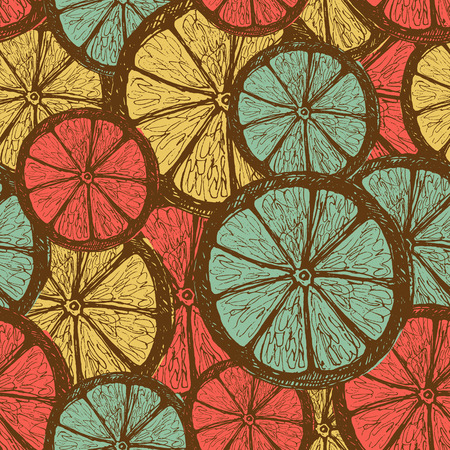 wet leaf: Retro seamless pattern with oranges - sketched style Illustration