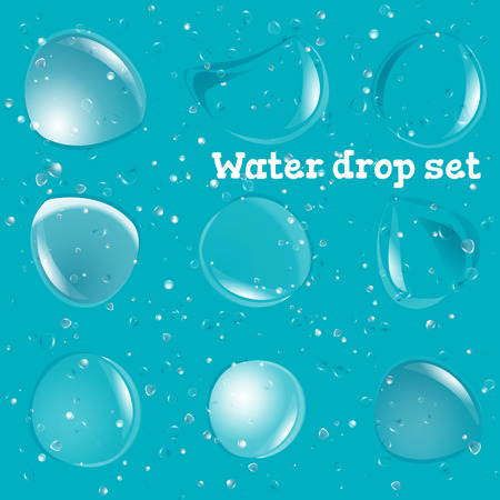 Transparent Pure Clear Water Drops Realistic Set. Vector Illustration Isolated 일러스트