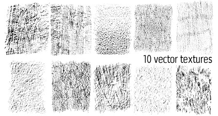 Set of 10 vector textures isolated on white background