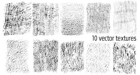 Set van 10 vector texturen geïsoleerd op een witte achtergrond