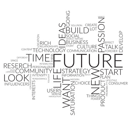 future business: Future business concept in word tag cloud, vector background Illustration