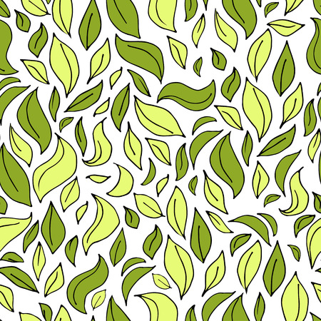 sketched shapes: Seamless leaf pattern with leaves silhouette in dark and light green colors