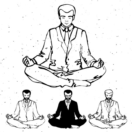 meditation man: Businessman thinking during meditation, cartoon vector illustration, business man meditating in lotus pose with eyes closed