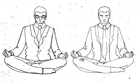 pose: Businessman thinking during meditation, cartoon vector illustration, business man meditating in lotus pose with eyes closed