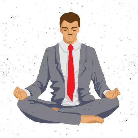 meditation isolated white: Businessman thinking during meditation, cartoon vector illustration, business man meditating in lotus pose with eyes closed