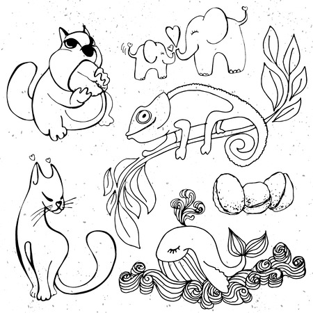 cartooning: Cute animals cartoon, cartooning wild animal - elephant and whale