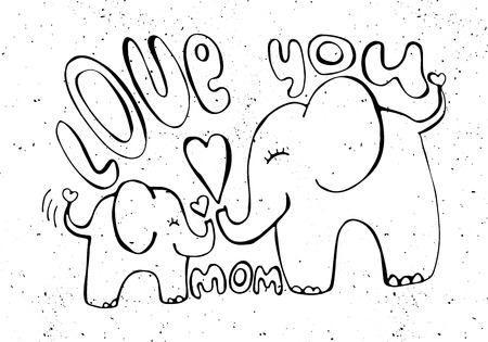 cartooning: Love you mom - greetings card with cute animals. Mothers day illustration silhouette