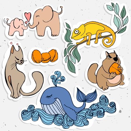 cartooning: Cute animals cartoon, cartooning whild animal - whale,  chameleon