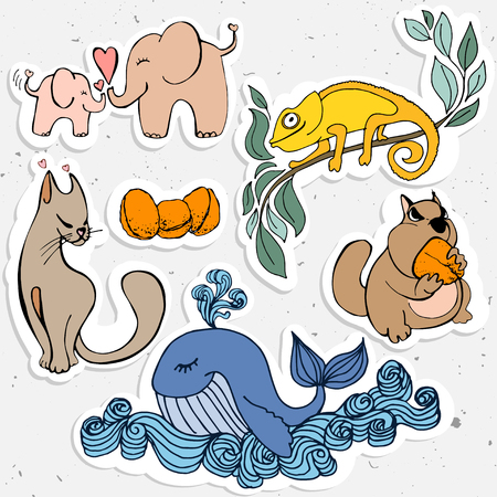 Cute animals cartoon, cartooning whild animal - whale,  chameleon