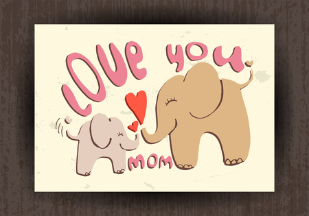 cartooning: Love you mom - greetings card with cute animals. Mothers day illustration Illustration