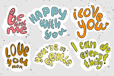 cartooning: Vector cartooning lettering about love and motivation - cute letter