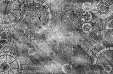 scuff: Technology steampunk background with dirty and scratches, grey color Stock Photo