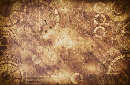 Antecedentes de la tecnología de fondo del steampunk con sucio y rasguños, el frío y los colores marrones