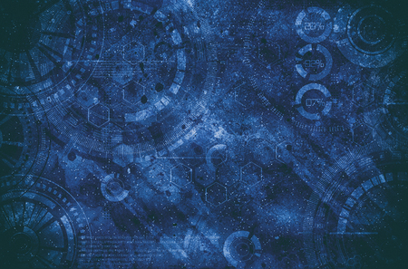 Technology background steampunk background with dirty and scratches, dark blue colors 写真素材