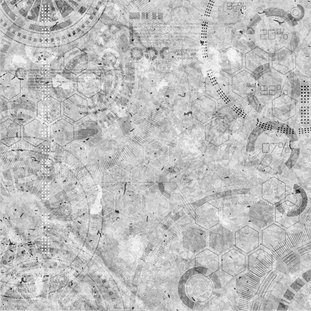 Technologie achtergrond steampunk achtergrond met vuil en krassen, grijze kleuren
