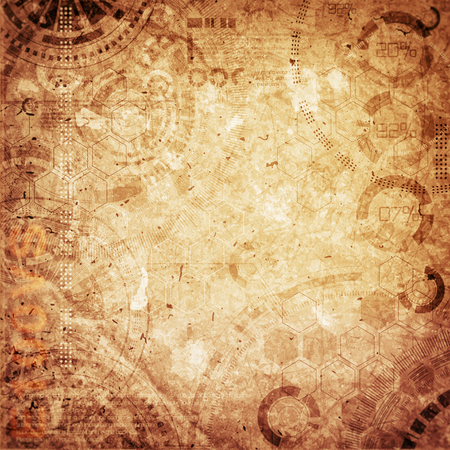 Technology background steampunk background with dirty and scratches, cold and brown vintage colors