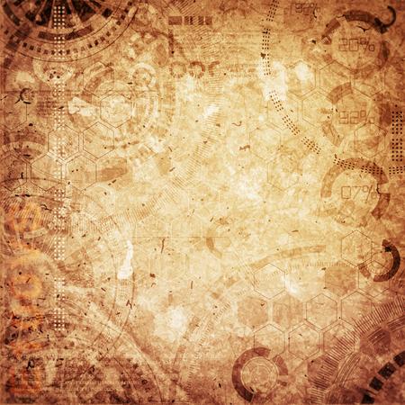 Technologie achtergrond steampunk achtergrond met vuile en krassen, koude en bruine vintage kleuren
