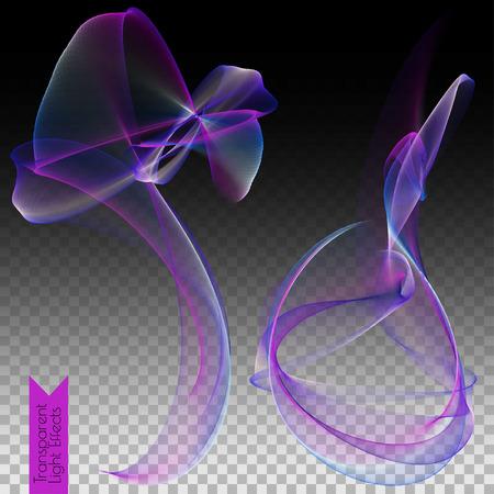 lighted: Transparent light effects - colored lighted effect on dark transparented background. Vector illustration