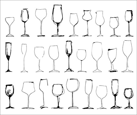 wineglasses: Wine glass set - collection of sketched wineglasses Illustration