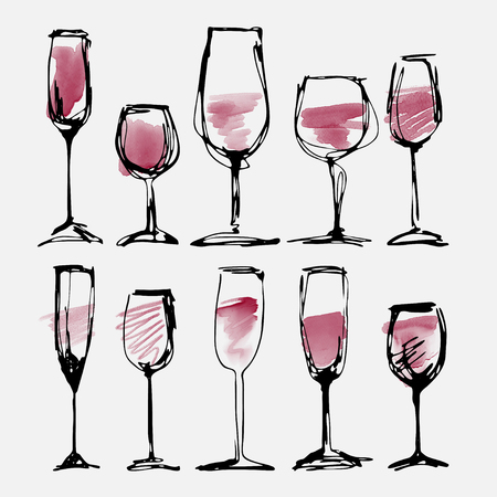 Wine glass set - watercolor collection of sketched wineglasses 版權商用圖片 - 60164444