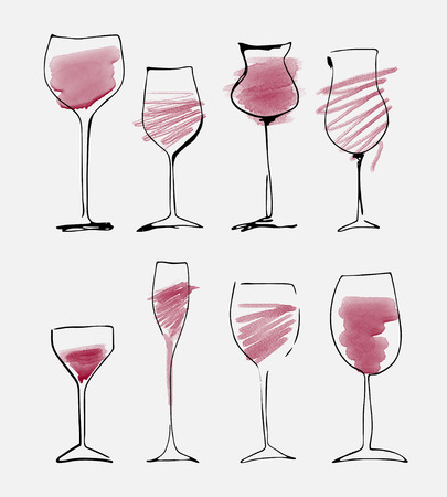 Wine glass set - watercolor collection of sketched wineglasses Vektorové ilustrace