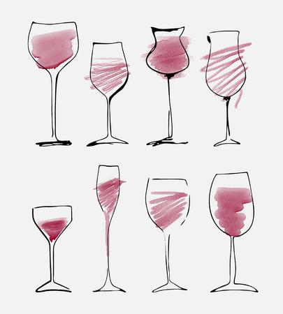 Wijnglas set - aquarel collectie van geschetste wijnglazen