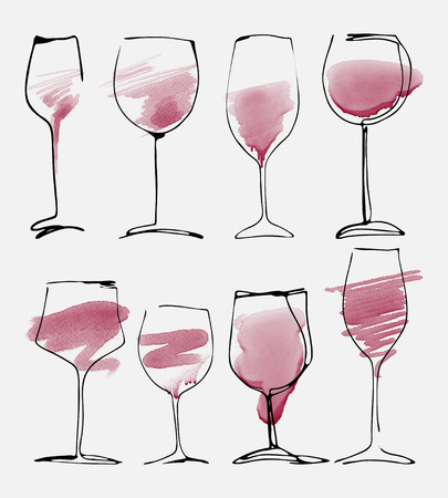wineglasses: Wine glass set - watercolor collection of sketched wineglasses