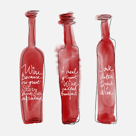 Set of bottle wine - watercolor bottles hand drawn art style with lettering