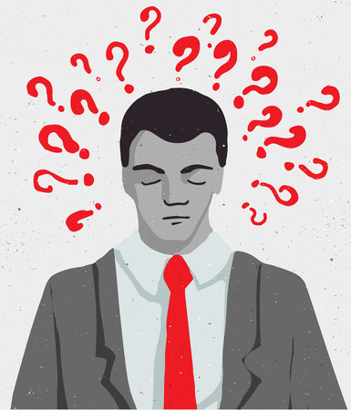speech cloud: Thinking man with speech cloud, businessman portrait
