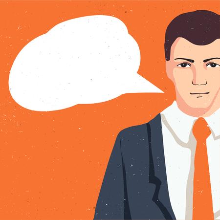 hombre pensando: Pensando en el hombre con la nube del habla, retrato hombre de negocios