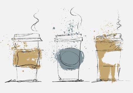 Wegwerp kopje koffie, vector kunst geschetst illustratie met gekleurde textuur