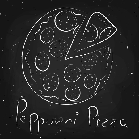 pepperoni pizza: Pepperoni pizza, drawn in chalk on a blackboard, vector illustration