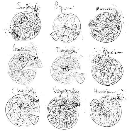 pepperoni: Pizza slice set - italian, mexican, margarita, cheese, pepperoni collection hand draw style isolated on white background