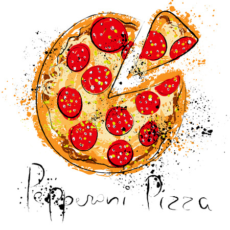 Pepperoni pizza, drawn in chalk on a blackboard, vector illustration