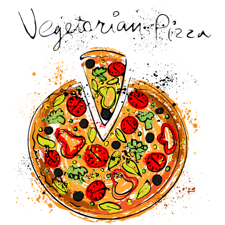 vegetarians: Vegetable pizza, drawn in chalk on a blackboard, vector illustration