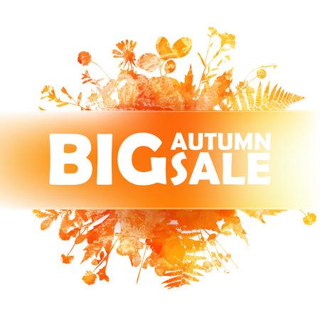 folliage: Autumn big sale - watercolor banner with orange folliage hand draw style