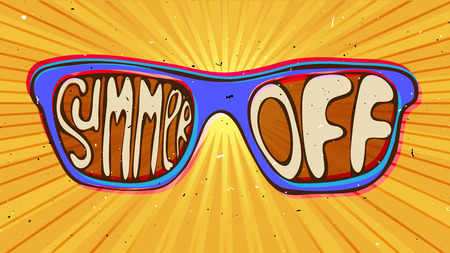 summer end off illustration concept. sunglasses with lettering about summer Illustration